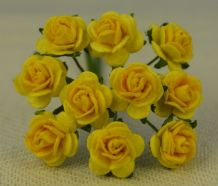 1 cm LIGHT YELLOW YELLOW CENTER Mulberry Paper Roses